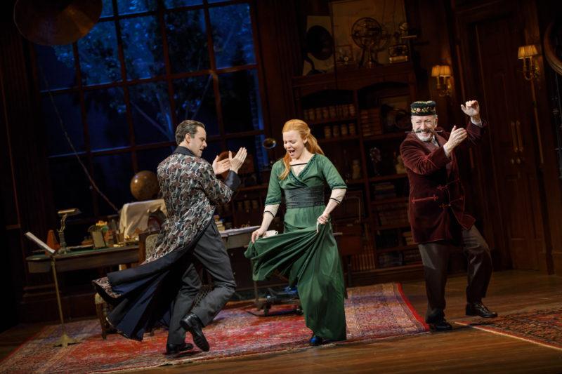 "Professor Higgins and Eliza Doolittle dance around the living room singing ""The Rain in Spain"""