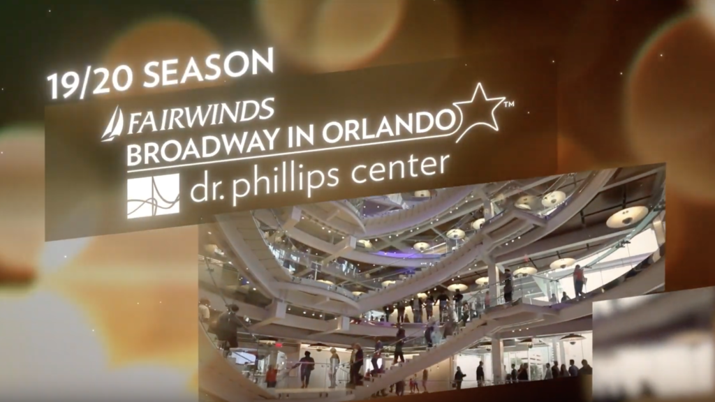Still of frame from the season trailer for the 19/20 season of FAIRWINDS Broadway in Orlando